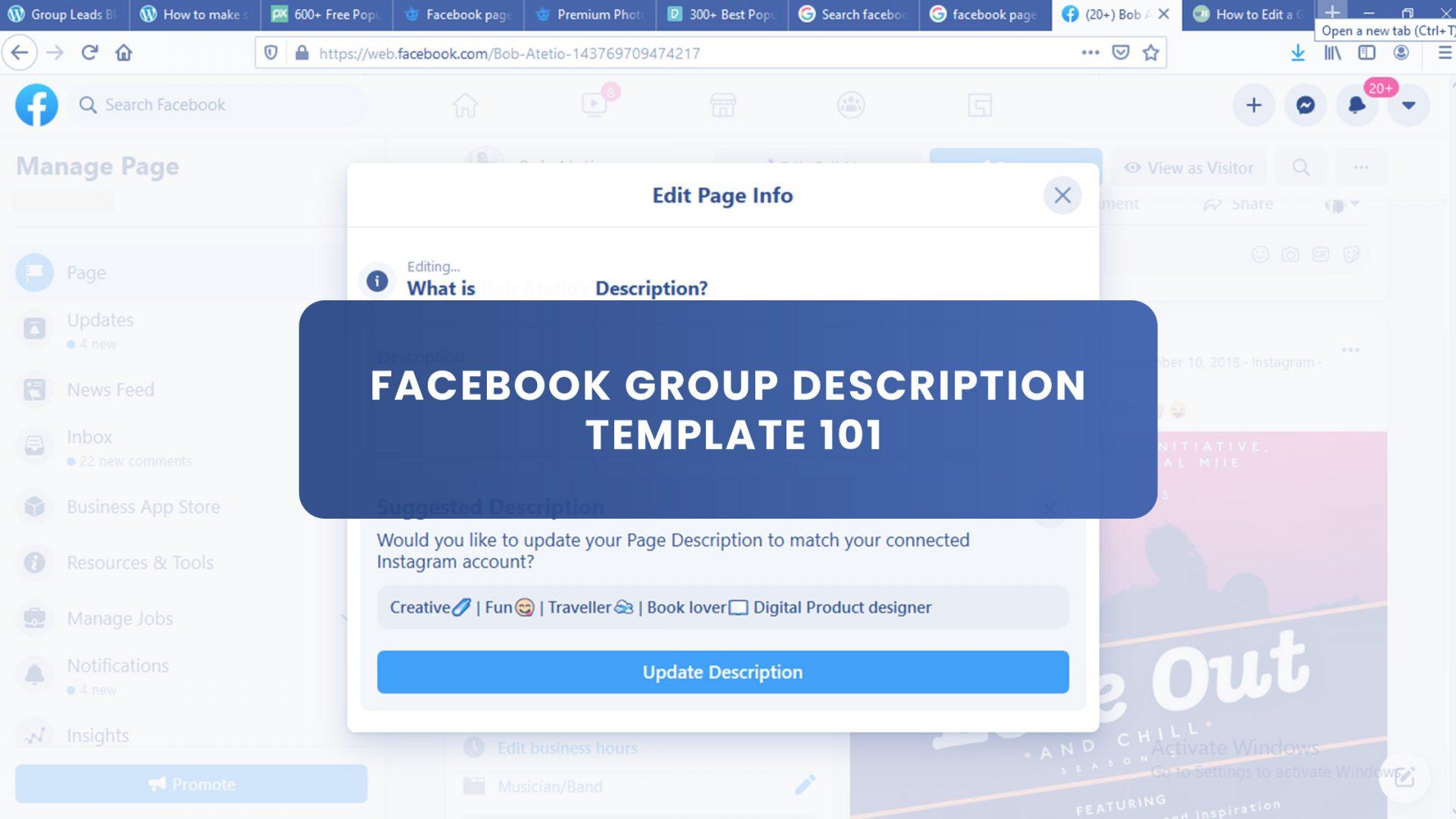 Facebook Group Description Template